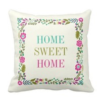 """""""HOME SWEET HOME"""" spring floral border aqua, pink Throw Pillow"""