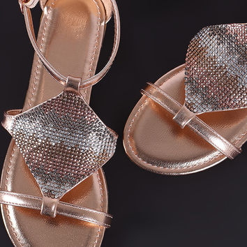 Jeweled Shield Flat Sandal | UrbanOG