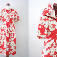 60s Red Floral Beach Robe, XS-S // Vintage Cotton Short Sleeve Shirtdress // Hippie Hooded Tunic Dress // Housewife Smock Frock