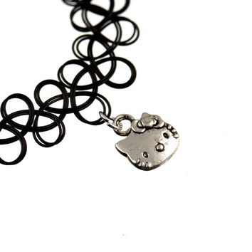 Silver Tone Hello Kitty Cat Meow Charm on a Nylon Stretch Tattoo Henna Choker Choose The Colour Hippy Necklace Tribal Indie 1990s