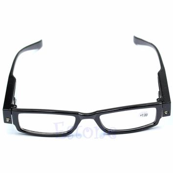 Classic Unisex Multi Strength LED Reading Glasses Eyeglass Spectacle Diopter Magnifier Light UP Eyewear WY2703