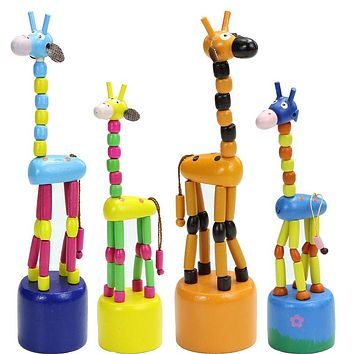So Interesting!!!2Pcs/Lot 17CM Mini Animal Cute Wooden Dancing Giraffe Rocking Station Bucket Children Birthday Christmas Gifts