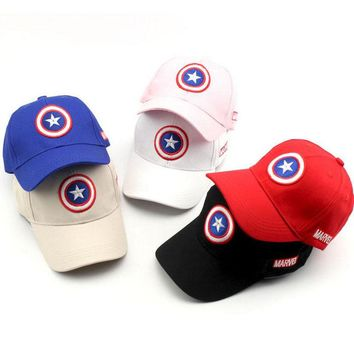 2017 New Captain America Children Hip Hop Solid Baseball Cap Summer kids Sun Hat Boys Girls snapback Caps 2-8 years