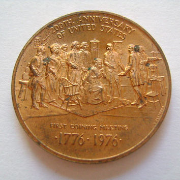 United States Mint Philadelphia Bicentennial Bronze Medal  200th Anniversary of US First Coining Meeting