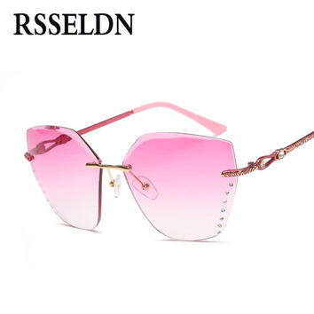 RSSELDN New Rhinestone Cat Eye Sunglasses Women Fashion 2017 Gradient Women Rimless Sun Glasses Ladies Green Pink UV400