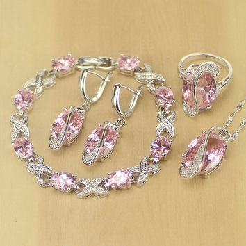 Pink CZ Princess Sterling Silver Jewelry Sets For Women Earrings/Pendant/Necklace/Ring Free Shipping&Gifts Box T237