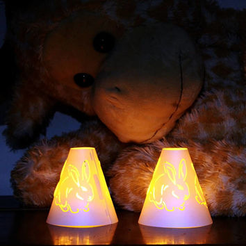 Tea Light Shade Rabbit Design Twin Pack With Diffuser for Fake Battery Tea Lights