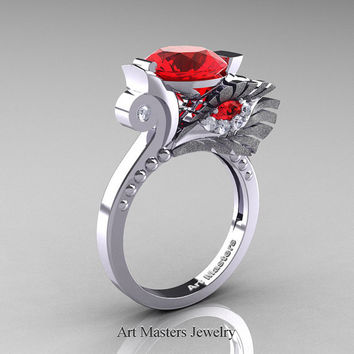 High Fashion Nature Inspired 14K White Gold 3.0 Ct Rubies Diamond Marquise Eye Engagement Ring R359S-14KWGDR