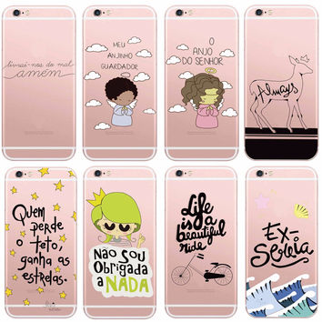 Ultra Thin Clear Words Phone case for Apple iPhone SE 5S 6 7 6S 6Plus Portuguese Spanish Christian Cartoon TPU Phone Cover