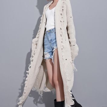 Easy Rider Cream Distressed Cardigan