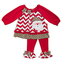 Rare Editions Newborn-24 Months Santa-Appliqued Christmas Chevron Chri