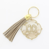 Large Tassel and Engraved Charm Keychain