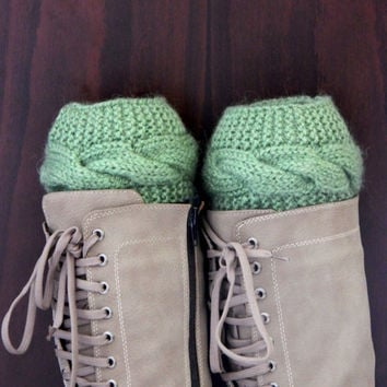Green Boot cuffs - Gray Leg Warmers - Cable knit boot toppers - Winter Fashion - Cozy legwarmers - Winter Acessory,Legwear