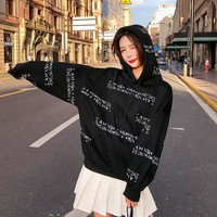 Ulzzang Harajuku Letter Printing Streetwear Hoodies Women Tops Autumn Korean Fashion Pullover Hooded Sweatshirt Schoolgirl Tops