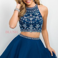 Intrigue by Blush Blue Two Piece Homecoming Dress