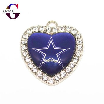 Dallas Cowboys Football Team Crystal Glass Heart Sport Hanging Dangle Charms DIY Women Men Bracelet Necklace Jewelry Accessory