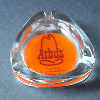 Vintage ARBY'S RESTAURANT Glass Ashtray Promotional Advertising Souvenir LOGO