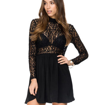Long Sleeve High Neck Floral Lace Mini Dress