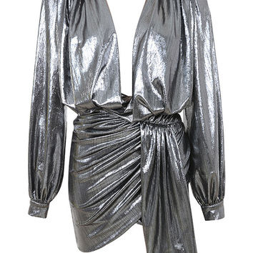 Clothing : Bodycon Dresses : 'Alvona' Metallic Silver Drape Mini Dress