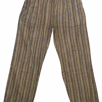 Bohemian Unisex Yoga Pant Cotton Stripes Print Side Pockets Pajama Pants: Amazon.ca: Clothing & Accessories