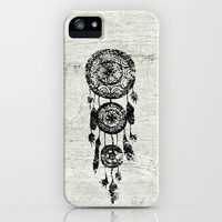 Hipster Lace black dreamcatcher on white wood iPhone Case by Girly Trend
