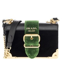 Prada Women's Cahier Velvet and Leather Handbag Black