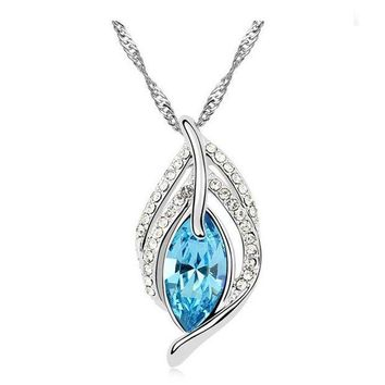 DCCKU62 G040 big crystal drop leaf necklace fashion pendant for party