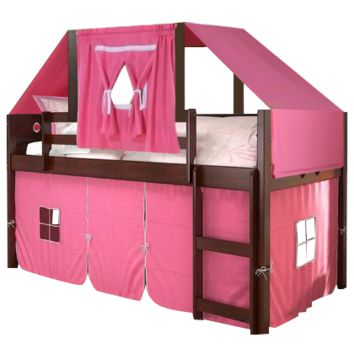 Bella Loft Bed with Pink Fort and Tent