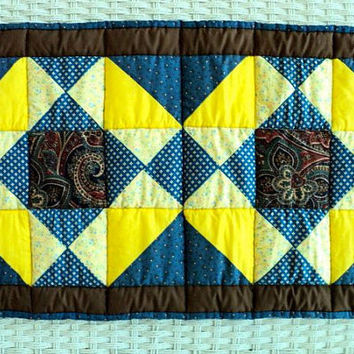 "Quilted Table Runner / Table Topper - Brown, Blue and Yellow - 14-1/2"" wide x 25"" long"