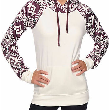 White and Purple Hooded Geometric Print Pullover Hoodie