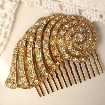 Art Deco Pave Rhinestone Gold Flapper Bridal Hair Comb, TRUE Vintage 1920s - 1930s Pave Fur Clip to OOAK Haircomb Downton Abbey