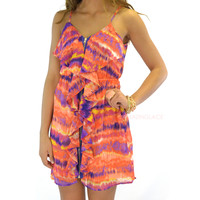 SZ LARGE Jamaica Sunset Tie Dye Zipper Dress