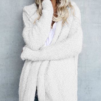 White Long Sleeve Hooded Coat