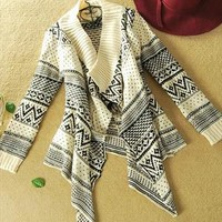 A 080506 Long-sleeved cardigan sweater coat irregular geomet from cassie2013