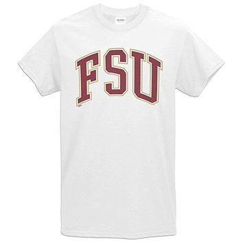 Value Priced Short Sleeve T-shirt with Arched FSU White