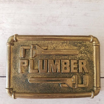 Brass Belt Buckle/ Plumber/ Hipster/ Gift for Man/ Large Belt Buckle/ Brass Buckle/ Vintage Brass Belt Buckle/ Large Belt Buckle/ 1970s