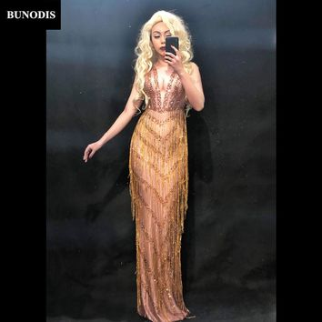 BU204 Gold Tassel Diamond Long Skirt Sparkling Crystals Clothing Nightclub Party Dancer Singer Costumes Bling Sexy Clothing