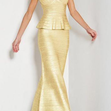 Gold Peplum Foil Print Bandage Gown