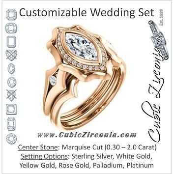 CZ Wedding Set, featuring The Jeanne engagement ring (Customizable Bezel-set Marquise Cut with Halo & Oversized Floral Design)