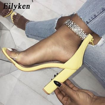 Eilyken Fashion Women Sandals High Heels PVC Clear Crystal Concise Classic Zip Shoes