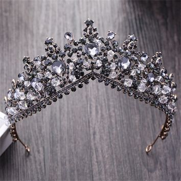 Vintage Baroque Black Crystal Queen King Crown For women Wedding Bridal Tiara Hair Ornaments Bride Hair Jewelry Accessories