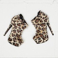 Missguided - Cheetah Ponyskin Spiked Ankle Boots