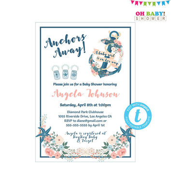 Nautical Baby Shower Invitation Girl, Anchors Away, Invitation Templates, Print Now Instant Download, Gender Neutral, Printables, NA01