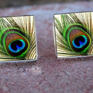 Glass Tile Post EarringsPeacock Feather Bird by goddessglass10359