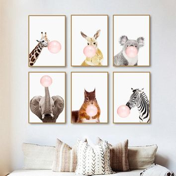 Modern Pink Balloon Nordic Cartoon Zebra Cute kids Room Decor Art Canvas Painting Warm Family Poster Wall Pictures Home Decor