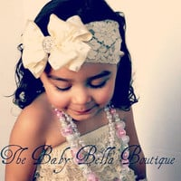 Baby Girl fancy Cream -Ivory double ruffle bow ,lace headband, ,Baby Headbands.Girl Headbands.