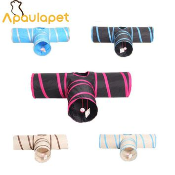 APAULAPET Foldable 3 Holes Pet Cat Tunnel Toys Indoor Pet Cats Training Toy Kitten Funny Cat Tunnel House Toys With Ball For Cat