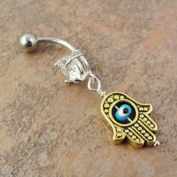 Gold Turkish Evil Eye Belly Button Ring, Hand of Fatima Belly Jewelry Hamsa
