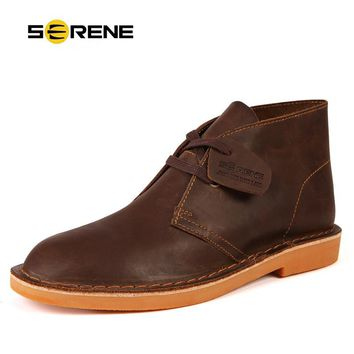 SERENE Brand 2017 New Arrival Autumn & Winter Men Leather Boots Retro Desert Fashion Boots Lace Up Suede Warming Boot Size 38~44