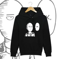 Saitama Hoodies Japanese Anime One Punch Man Printed Hoody 2017 New Fashion Fleece Hooded Pullovers Free Shipping